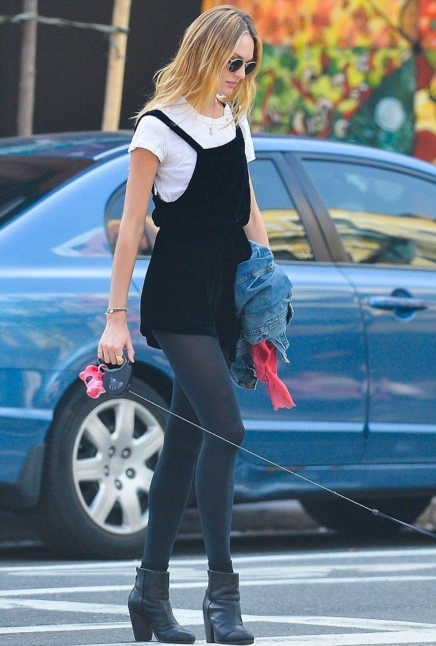 ♡ Fall Style - Candice Swanepoel - Black jumper with tights and ankle boots - If you like my pins, please follow me and subscribe to my fashion channel on youtube! (It's free) Let me help u find all the things that u love from Pinterest! https://www.youtube.com/channel/UCCP8TXebOqQ_n_ouQfAfuXw