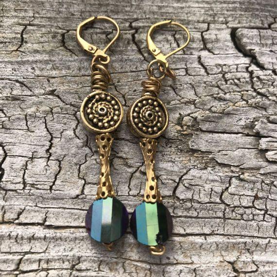 RARE SWAROVSKI pagoda vintage crystal Earrings. Gold brass