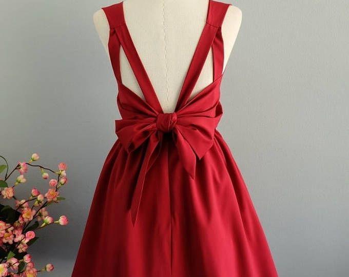 Flash vente rouge robe rouge sang robe rouge parti robe de bal rouge foncé robe noeud au dos robe rouge de demoiselle d'honneur robes robe dos nu rouge foncé