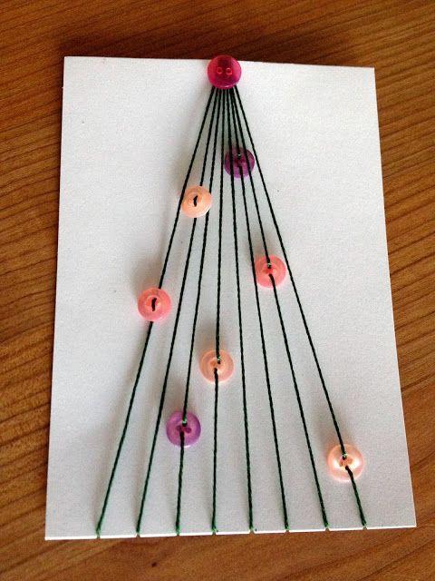 carte de no l avec sapin de fil et boutons thread and button tree on christmas card boutons. Black Bedroom Furniture Sets. Home Design Ideas