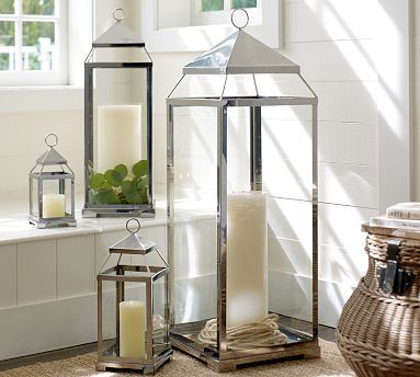 """I love these--is 12"""" too short? I think the medium is too high at 18"""". Malta Lantern - Silver Finish #potterybarn"""