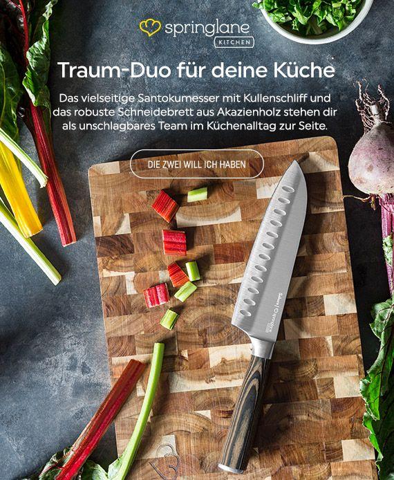 Echte Küchen-Alltagshelden: Santoku Messer & Akazienholz Schneidebrett im Set