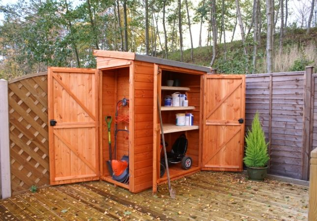 Wooden outdoor storage shed