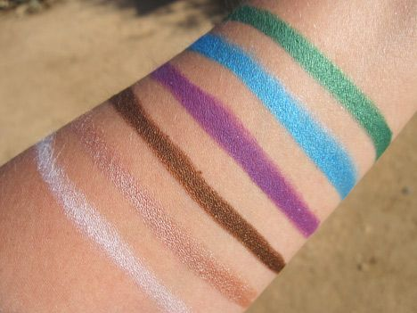 Swatches of the fab Milani Shadow Eyez cream shadow/liners: Liner Photos