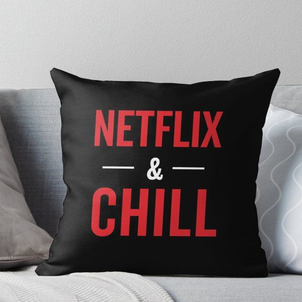 Netflix and Chill Typography Throw Pillow