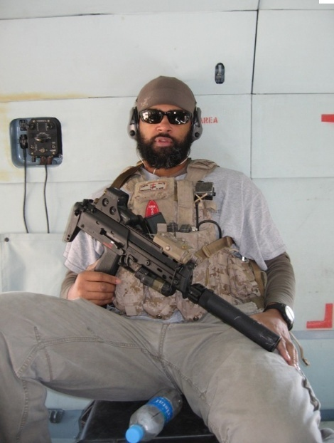 US Navy DEVGRU Operator Kevin Houston - Killed in Action, 6 August 2011, Wardak Province, Afghanistan. Note the name/call sign/ID patch above the WWII FSSF SSI arrowhead (USA/CANADA) being worn as a moral patch on his chest rig.