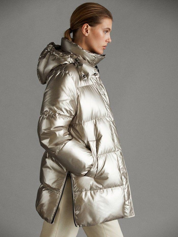 Laminated Apres Ski Down Jacket Women Massimo Dutti Down Jacket Jackets For Women Outerwear Women