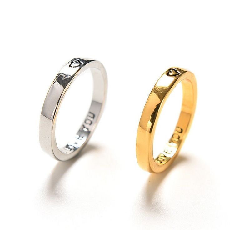 """Cute """"I Love You"""" With Love Heart Couples Promise Rings (Pair)"""