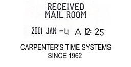 Sample Time Date Stamp Imprint - Clerk of Courts must Date and Time File Stamp all incoming court documents. http://www.carpenterstimesystems.com/Time_Date_Stamp.html