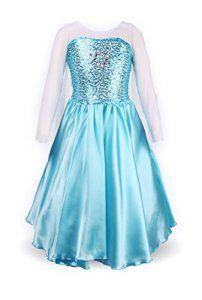 Petites Filles Princesse Elsa Manches Longues Robe Costume