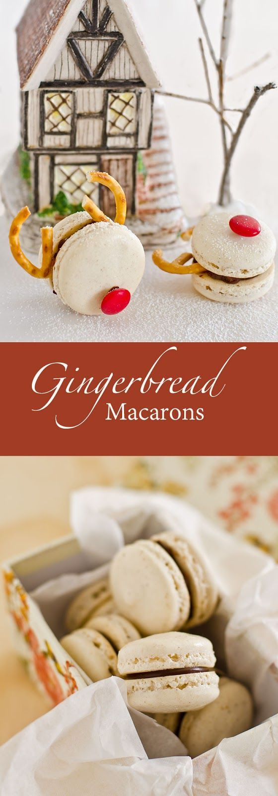 Gingerbread Macarons with Orange Intense Dark Chocolate Ganache recipe. A delightful and an excellent sweet treat for Christmas.