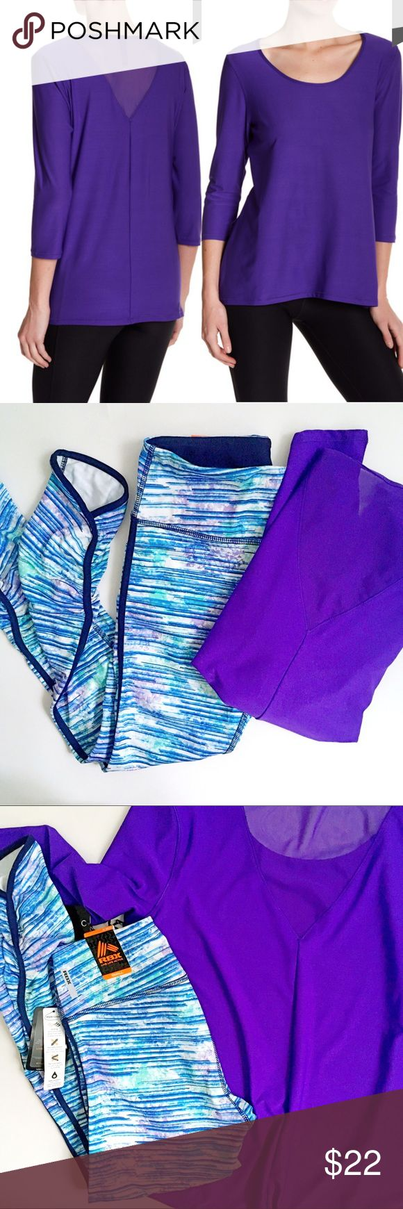 ABS Allen Schwartz moisture wick back mesh yoga NWT ABS by Allen Schwartz moisture wicking yoga | workout | lifestyle top with 3/4 sleeves and mesh back. Size small. 90% polyester 10% spandex ABS Allen Schwartz Tops
