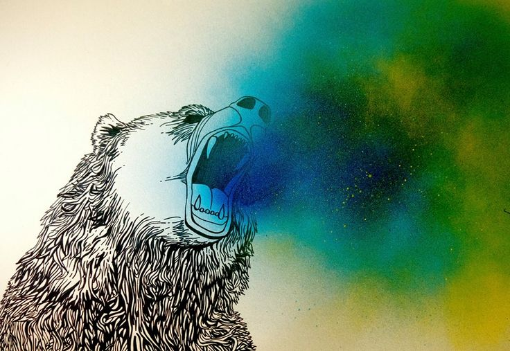 Bear drawing, marker pen and spray paint