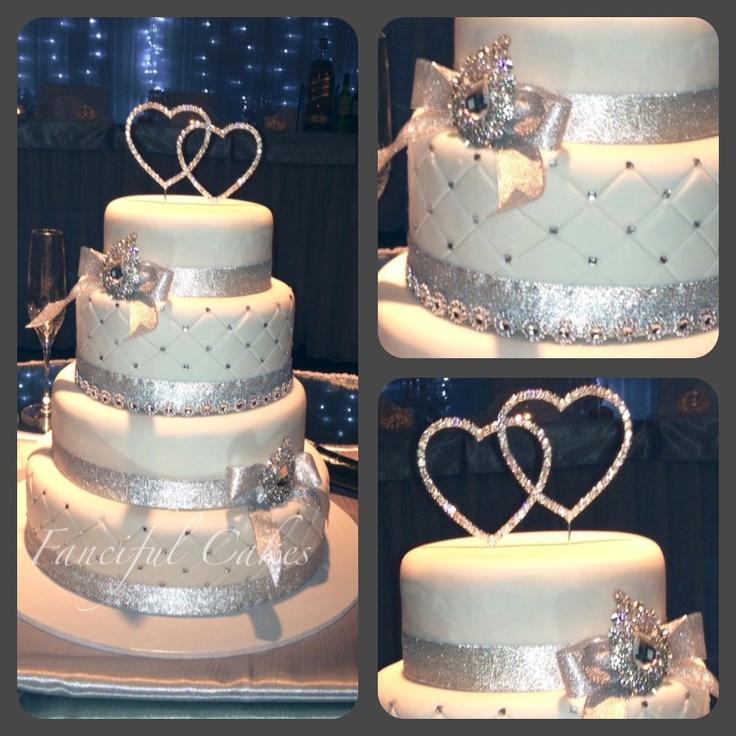 4 Tier Bling Wedding Cake Www.facebook.com/fancifulcakes