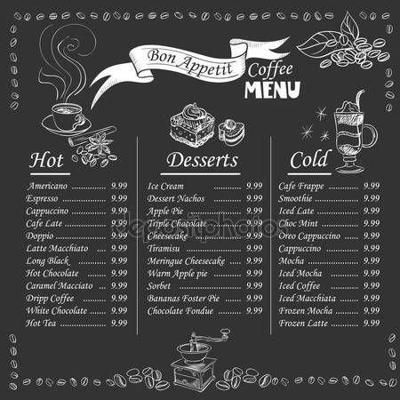 Koffie menu op schoolbord — Stockillustratie #74595917