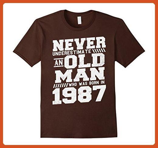 Mens An Old Man Born In 1987 30th Birthday 30 Years Old T-Shirt Medium Brown - Birthday shirts (*Partner-Link)