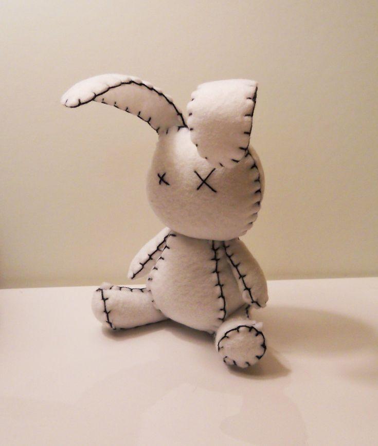 Felt little goth white rabbit plush stuffed toy. $25.00, via Etsy.