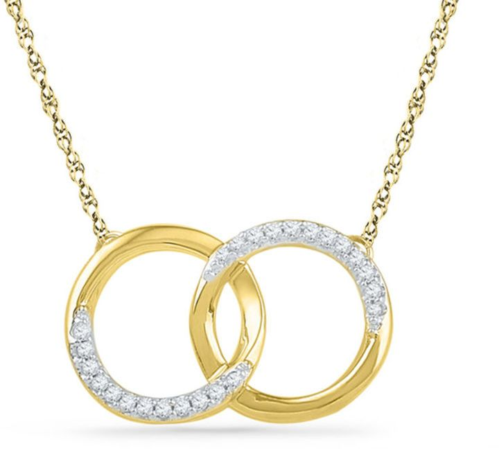 Zales 1/10 CT. T.W. Diamond Interlocking Circles Necklace in 10K Gold