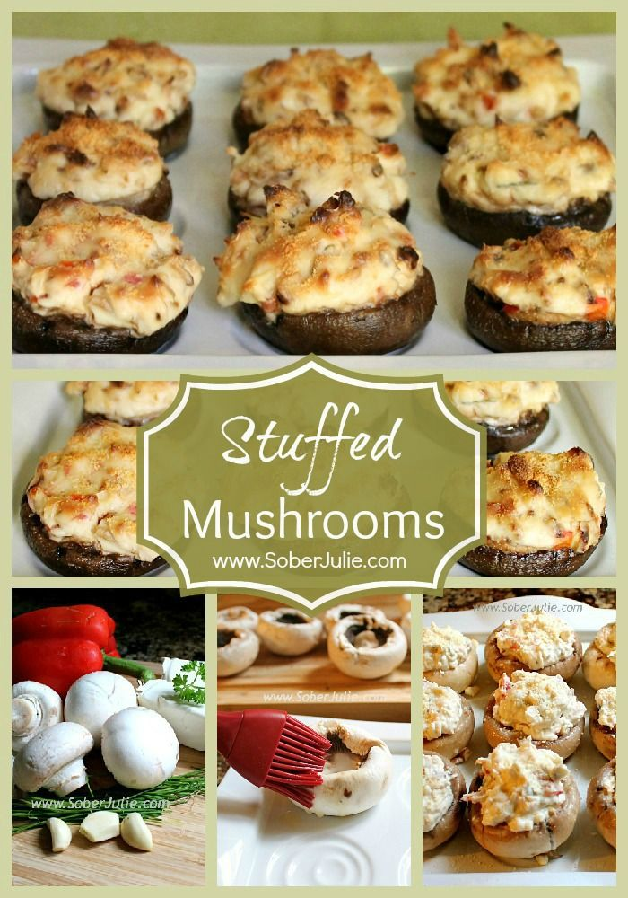 Stuffed Mushrooms Collage @SoberJulie.com #Appetizer #Recipe #StuffedMushrooms