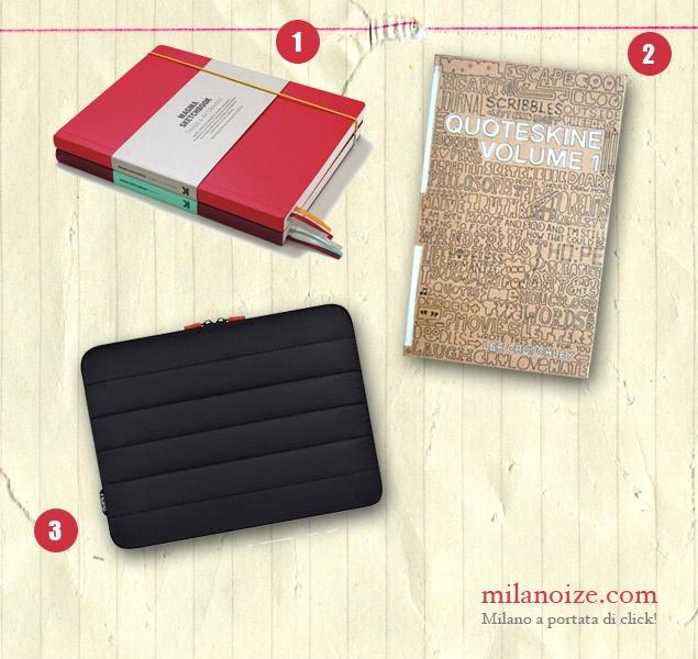 Oggetti di Design    (1) Blocco per schizzi Magma: 152 pagine • € 16,08  (2) Quoteskine Volume 1: celebri citazioni e versi di canzoni accanto a schizzi incisivi e divertenti • € 17,42  (3) Custodia DEN per MacBook Pro: € 27,70    http://www.milanoize.com  MILANOIZE • Milano a portata di click!