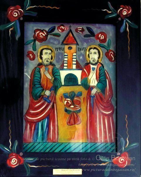 Sfinții Apostoli Petru și Pavel icoană naivă pictată pe dosul sticlei în ulei pictură tradițională lucrare de artă religioasă ortodoxă