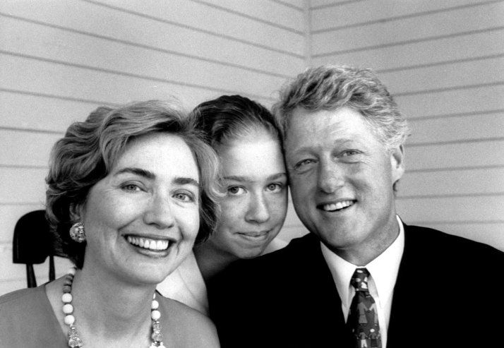Bill Clinton with daughter Chelsea and wife Hillary, 1993.  Time Magazine's Famous Dad's and their Daughter's (33 Pictures in Total) Father's Day Special.