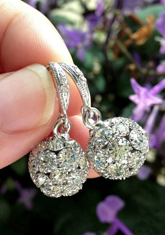 Sparkle Rhinestone Earrings, Vintage Bridal Earrings, Fireballs Earrings, Bridal Jewelry, Weddings, Bridesmaid, www.glitzandlove.com