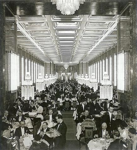Normandie's main dining room, decorated with Lalique glass and compared to the Hall of Mirrors at Versailles.