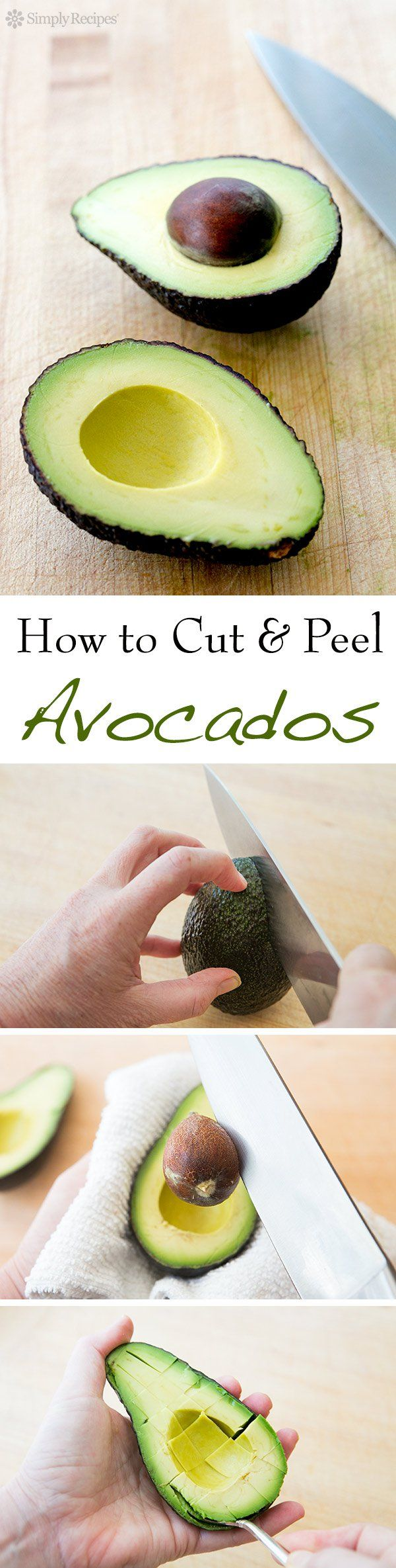 How to cut and peel an avocado, safely and quickly. It's easy! On SimplyRecipes.com