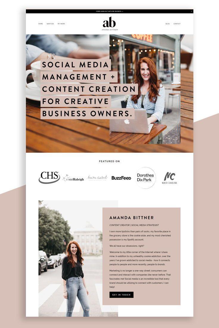 Karimacreative Modern Website Design In Blush Black And White By Karima Creative We Modern Website Design Business Website Design Squarespace Website Design