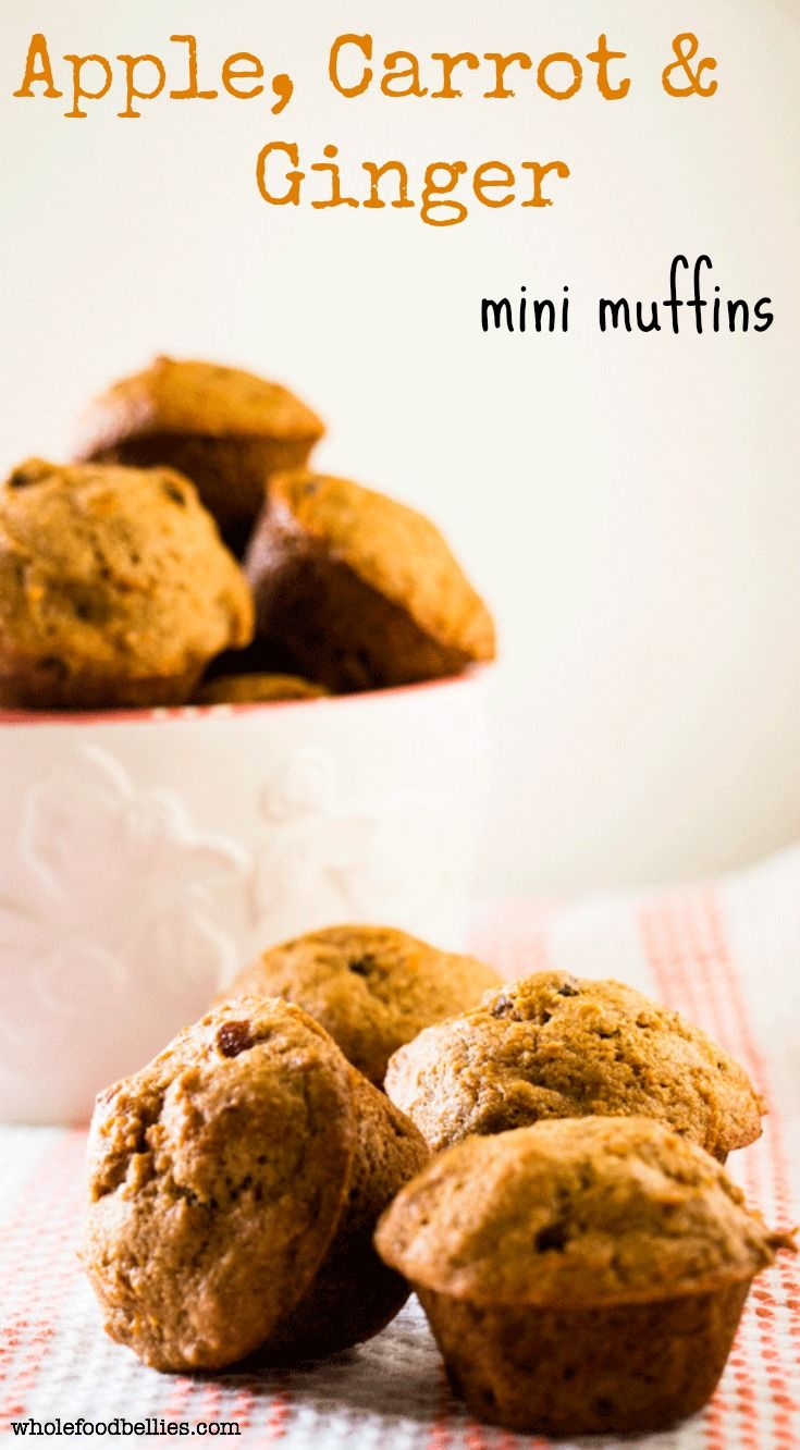 Apple, carrot and ginger combine to make this one powerhouse of a mini muffin. Great for kids and adults alike, and a fantastic way to sneak in some veggies. Naturally sweetened