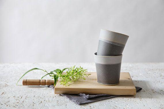 Gray Ceramic Espresso Cups  set of two Modern by FreeFolding