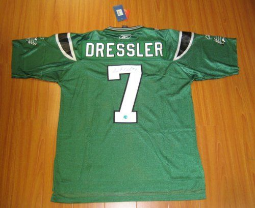 WESTON DRESSLER Saskatchewan Roughriders SIGNED CFL Football Jersey . $398.05. This is an official licensed SIGNED Weston Dressler Saskatchewan Roughriders jersey. The jersey is brand new with all of the lettering and numbering professionally sewn on. The player has beautifully signed the number. To protect your investment, a Certificate Of Authenticity and tamper evident hologram from A.J. Sports World is included with your purchase.