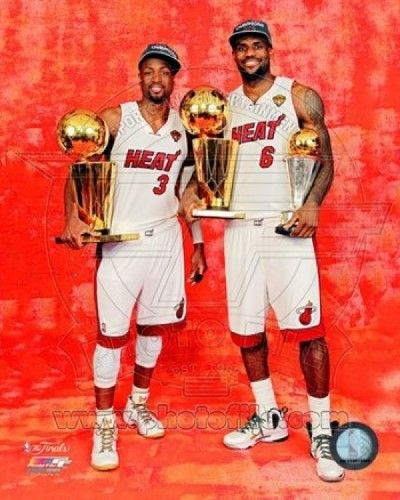 LeBron James & Dwyane Wade with the 2012 NBA Finals & MVP Trophies Game 5 of the 2012 NBA Finals Photo Print (20 x 24)