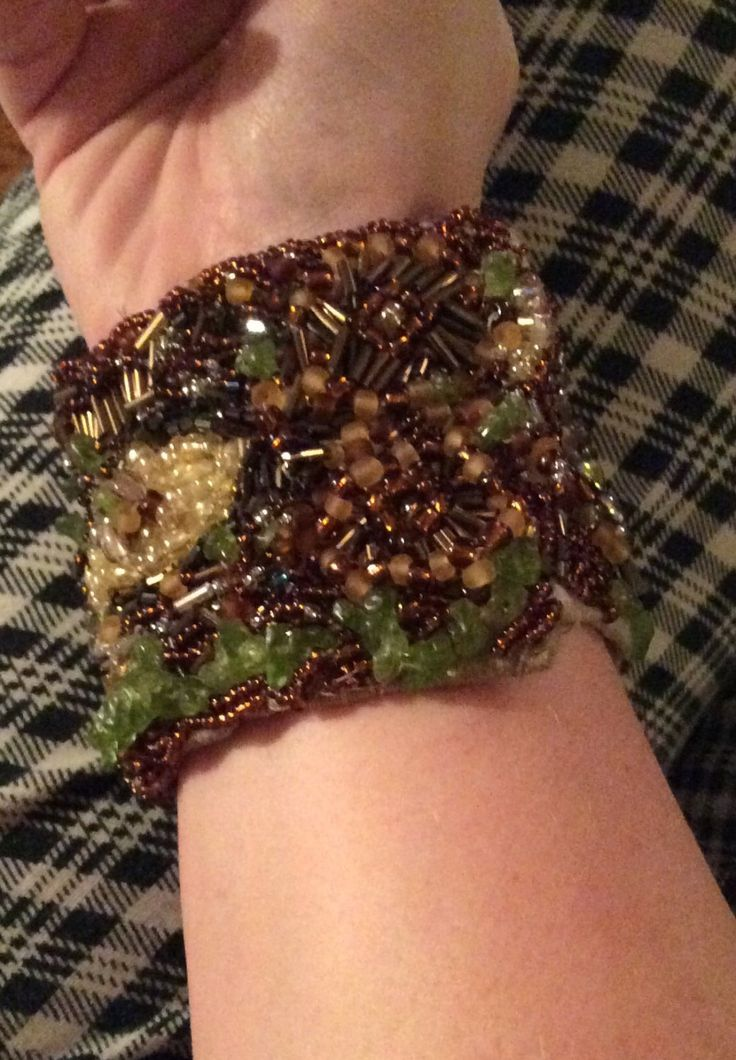 The+Forest+Floor+hand+beaded+cuff+mixed+textile+glass+bead+cabochon+hand+embroidered+felt+bracelet+chic+by+AliceAndBettyDesigns+on+Etsy