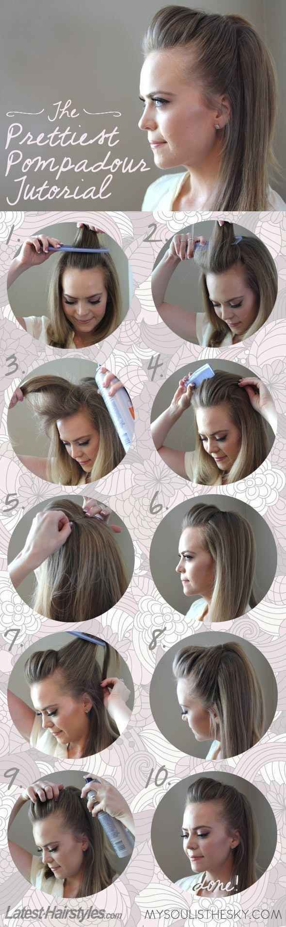 The Easiest, Prettiest Pompadour - just did this and it was easy and looks pretty with a few curls in the hair! Love it for a casual or dressed up night out!: