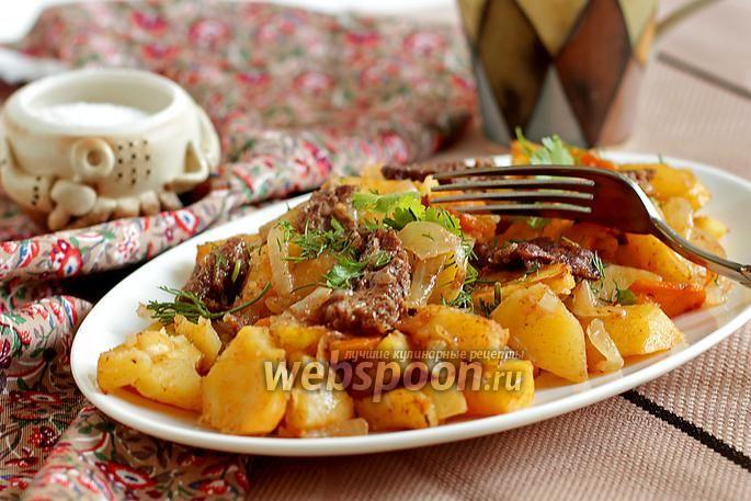 Фото Картофель с мясом в рукаве