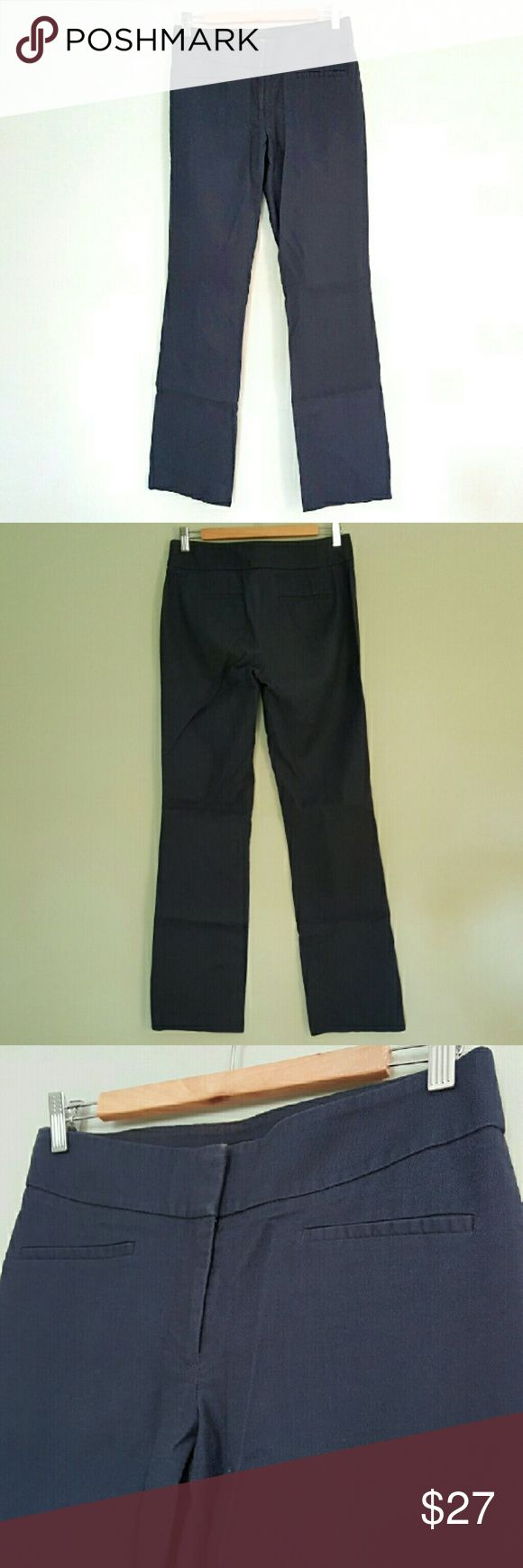 """Ann Taylor Loft Julie Bootcut Navy Dress Pants 2 T These classic dress pants come in a versatile navy blue. They are in good pre-owned condition with only minor signs of wear as can be seen in the third photo. They are a size 2 tall. The inseam is approximately 33"""" and the front rise is about 8.5"""". LOFT Pants Straight Leg"""