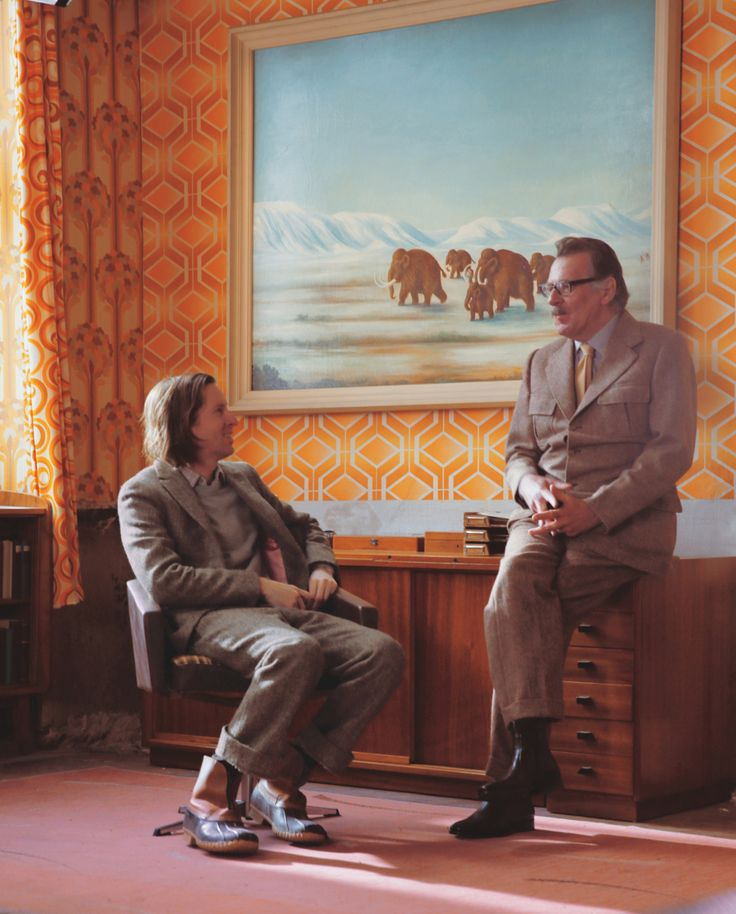 auteurstearoom: Director Wes Anderson and Tom Wilkinson on the set of The Grand Budapest Hotel.