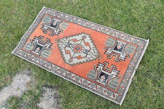 Hi there! Welcome to VinArtStore! Doormat Rug Small Size Vintage Turkish Oushak Hand Knotted Rug Wall Hanging Home Office Entrance Muted Color Antique Wool Door Mat Carpet Super Fast Delivery! You will receive your item within 3 - 5 business days. You can return the item if you find any