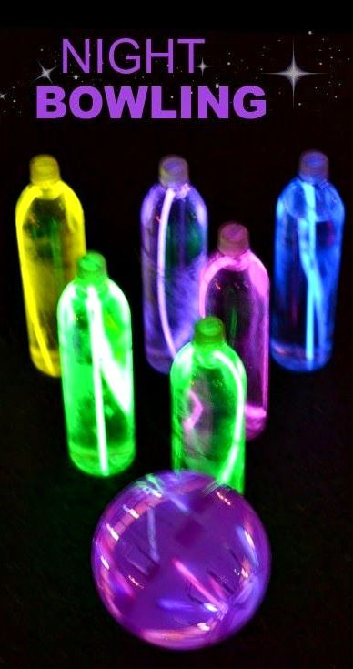 Night Bowling ~ a SUPER FUN activity... The glowing ball and pins are easy to make, too!