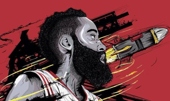 James Harden 'FIRE' Illustration Art Pinterest James