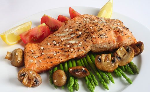 Lunch: Epicure's Sesame Salmon (240 calories/serving) serve with grilled asparagus