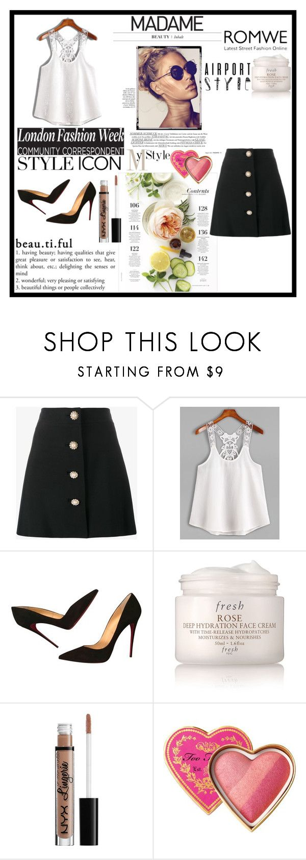 """/White-Contrast-Lace-Crochet-Cami-Top"" by almir-ks ❤ liked on Polyvore featuring Miu Miu, Christian Louboutin, Martha Stewart, Fresh, NYX, Too Faced Cosmetics and romwe"
