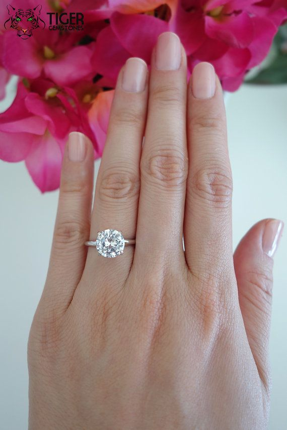 Size 5-8: 3 Carat 14k White Gold, 9mm, 4 Prong Solitaire Engagement Ring, Man Made Diamond Simulant, Promise Ring, Wedding Ring, Bridal Ring