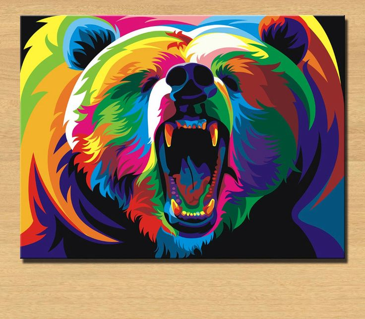 Colorful roaring bear illustration will be a good addition to any room. Size: 12 x 16in 16 x 20in 20 x 24in 24 x 30in 28 x 36in Note: Frame option is not available. Shipped directly from manufacturer,