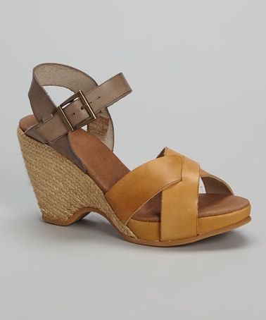 This Mustard Quinny Leather Sandal by Eric Michael by Laurevan is perfect! #zulilyfinds