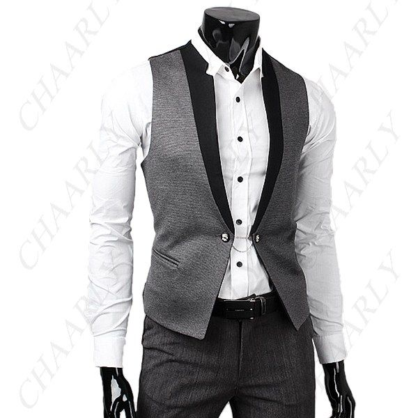 British Style Fitted Vest Waistcoat Gilet Sleeveless Garment with Chain