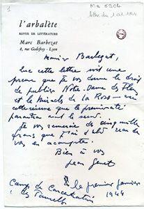 Lettre de Jean Genet à Marc Barbezat sur papier à entête de L'Arbalète (1er…
