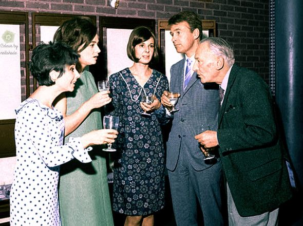 This photo is from 1964, and shows (from left to right) Carole Ann Ford (Susan), Jacqueline Hill (Barbara), producer Verity Lambert, William Russell (Ian), and William Hartnell (the Doctor) celebrating the sale of the first series of Doctor Who to Canada.